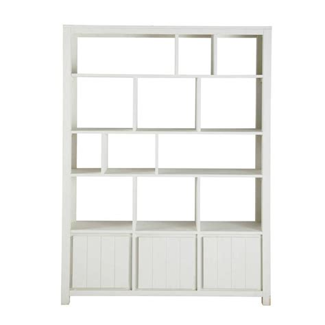 solid wood bookcase in white w 150cm white maisons du monde