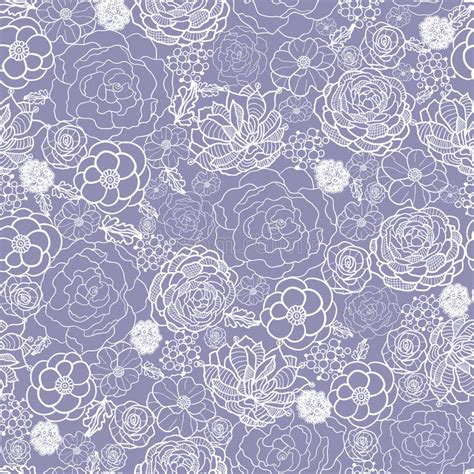 fashion elegant background with hand drawn flowers royalty purple lace flowers seamless pattern background stock