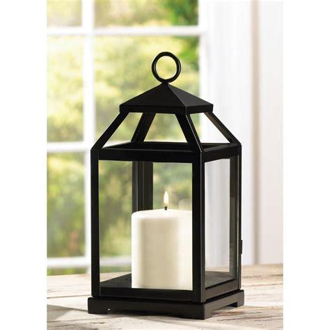 Pillar Candle Lantern Primitive Rustic Hanging Tabletop Metal Iron Glass Pillar