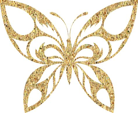 Butterfly Gold clipart gold tiled tribal butterfly silhouette