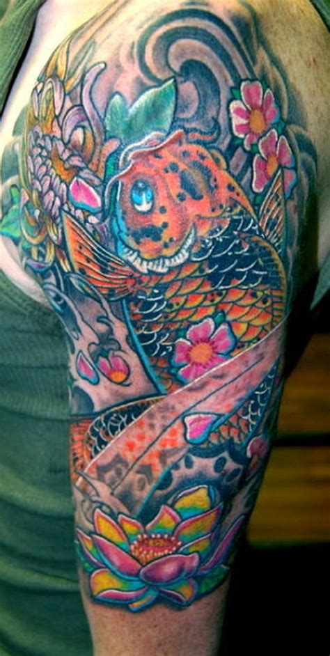 koi fish tattoo sleeve designs half sleeve koi fish n flowers design tattoos