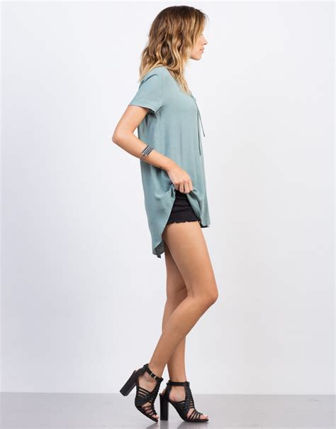 Side Ribbon Flowy Top flowy lace up blouse hi low top up shirt 2020ave
