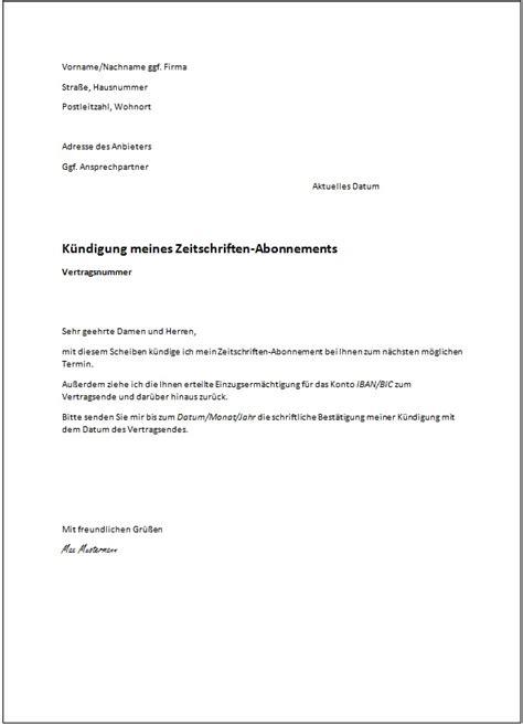 Abo Abbestellen by Das Muster Einer K 252 Ndigung Kostenlose Vorlagen Ratgeber