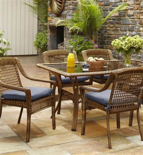 hampton bay spring haven brown  piece  weather wicker
