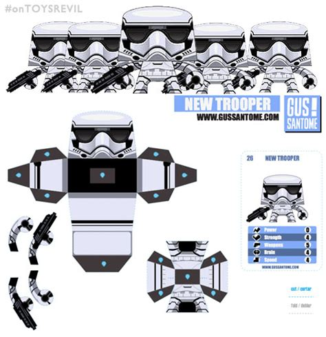 theforceawakens stormtrooper as paper toys from gus