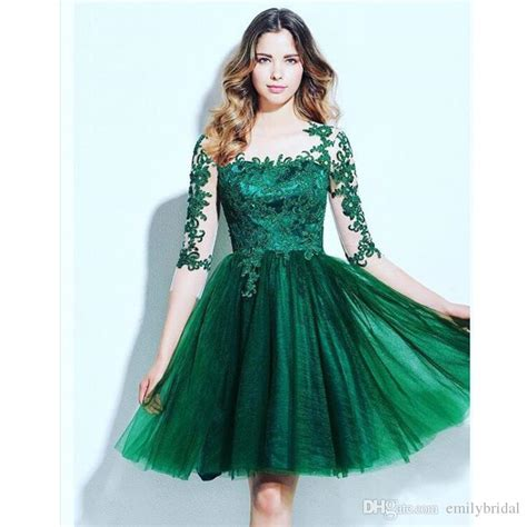 Emerald Green 3/4 Sleeve Lace Cocktail Party Dresses Cheap Tulle Homecoming Dress Junior