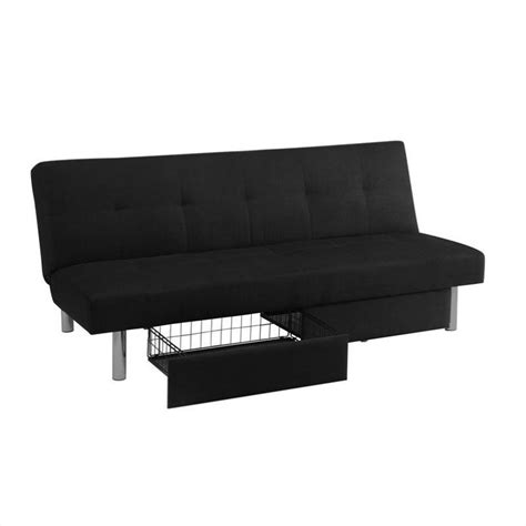 sola futon convertible sofa with storage in black microfiber 2037019