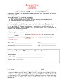 credit card authorisation form template australia credit card recurring payment authorization form in word