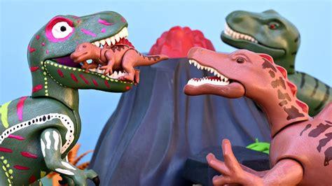 rex  spinosaurus dinosaur triceratops vulcano eruption lava playmobil dinosaurs toys youtube