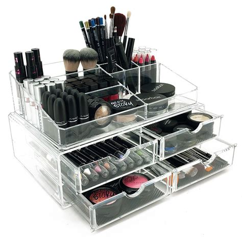 large acrylic makeup storage drawers new deluxe makeup jewelry organizer large acrylic