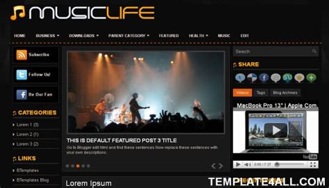 free blogger themes music all free premium wordpress themes free blogger black