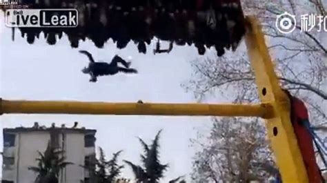 swing ride accident man falls from theme park ride in china after his belt