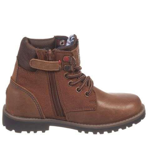 boys leather boots hilfiger boys brown leather ankle boots with laces
