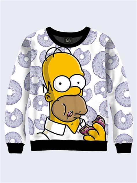 Kavkas Sleeve Jumper Donut Pattern Homer Sweatshirt The Simpsons Donut Pattern