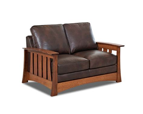 mission style leather loveseat comfort design higlands