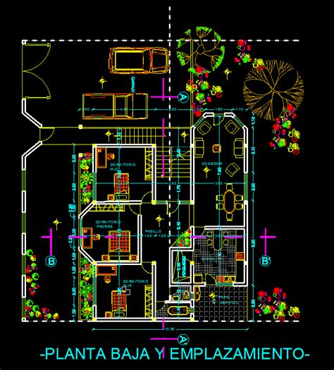 terraced houses  garage  dwg plan  autocad