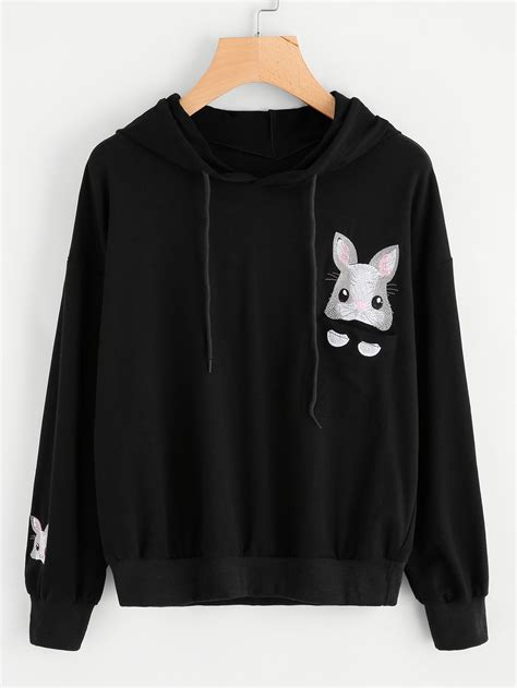 Embroidered Hoodie rabbit embroidered hoodie shein sheinside