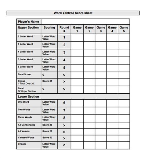 yahtzee score pad template sle yahtzee score sheet 8 free documents in pdf xls