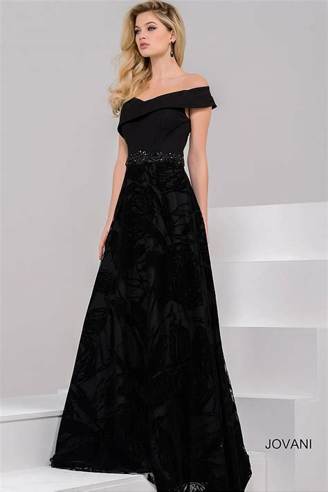 Sleeve A Line Evening Gown black a line gown with the shoulder neckline and