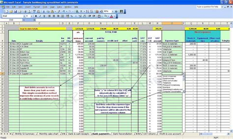 Accounting Bookkeeping Spreadsheets Templates Demo Household Bookkeeping Template