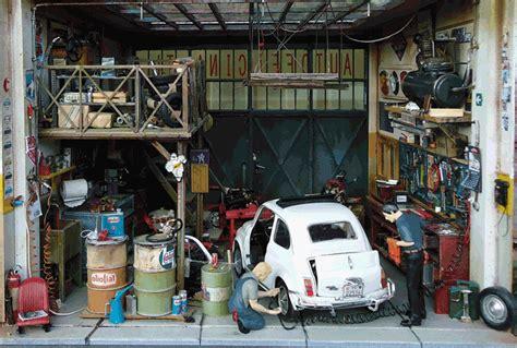 Garage Design Garages Auto Fiat Porsche Audi Ferrari Miniature 1 18
