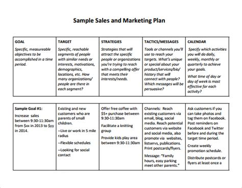 sales plan template forms fillable printable samples for pdf