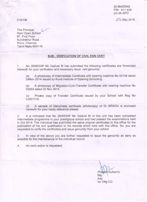 Verification Letter From Rto Rural Institute Of Open Schooling Delhi September 2015
