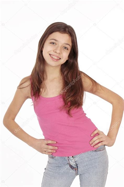 yng girl beautiful young teen girl with brackets on teeth in white