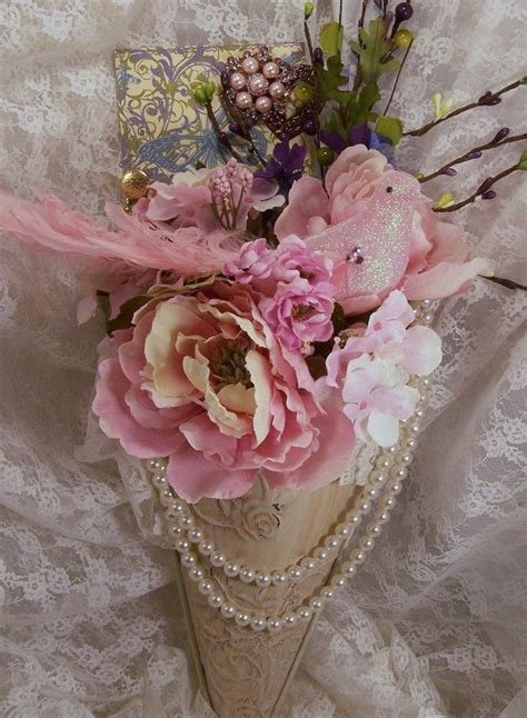 Seprai Shabby Chic 2 on sale shabby chic floral arrangement with a bird lace pearls and other rhinestone