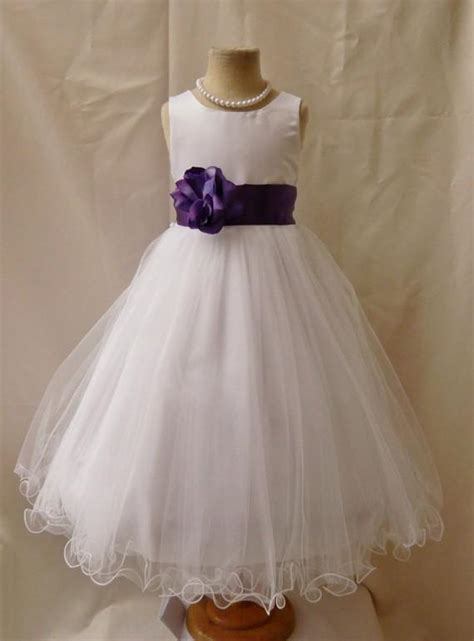 Dress Olla Flowers flower dresses white and purple discount wedding