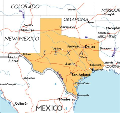 texas map in usa map of texas in the usa