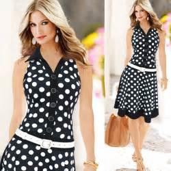 new 2015 summer women casual dress polka dot printing
