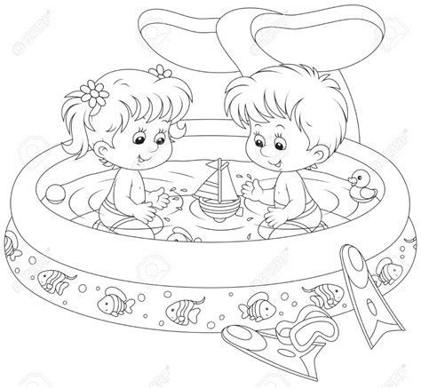 dibujos niños jugando en la piscina dibujo para colorear de ni 241 os en una piscina dibujos de