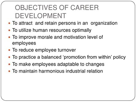 objectives of career development career planning and development