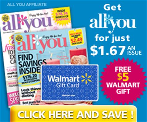 Walmart Gift Cards In Bulk - all you magazine subscription 1 67 per issue free 5 walmart gift card