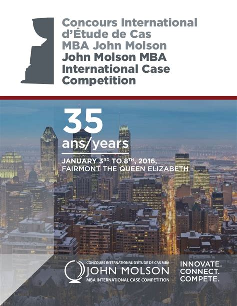 Johns Global Mba Program by Molson Mba Icc Booklet 35th Edition