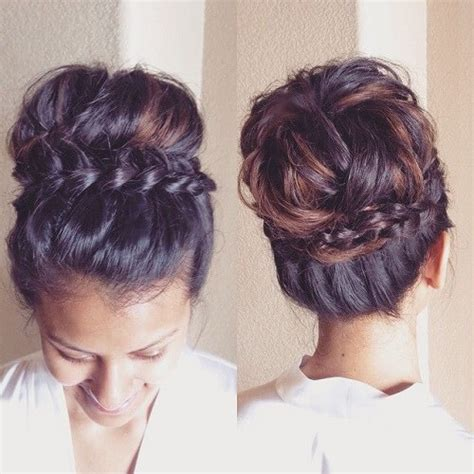 medium hair styles with puff around the crown braid wrap around crown bun hair motive hair motive