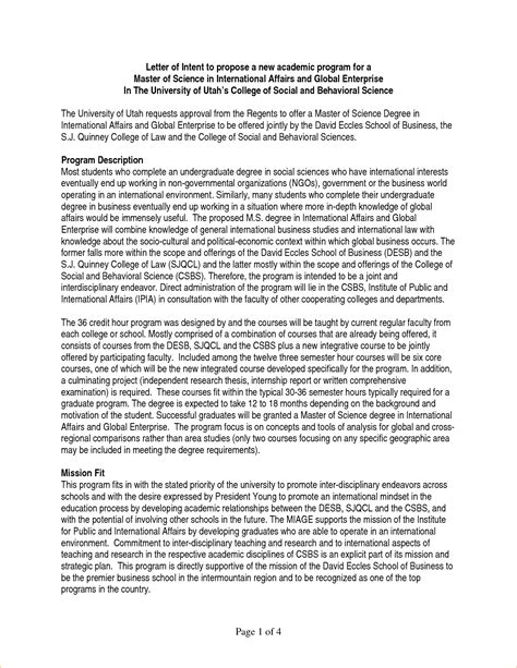 Letter Of Intent Exle Graduate School 6 Letter Of Intent Graduate School Academic Resume Template