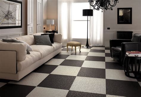 black white living room checkered floor tiles interior