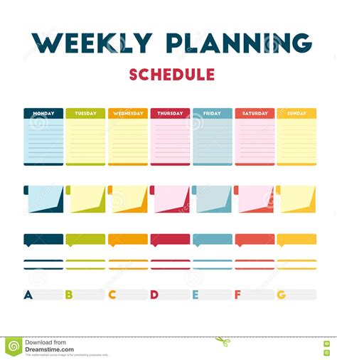 design training calendar weekly planning schedule stock vector illustration of
