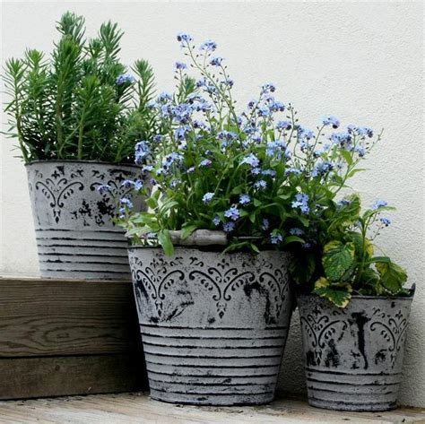 shabby chic flower pots details about vintage metal buckets planters with handles