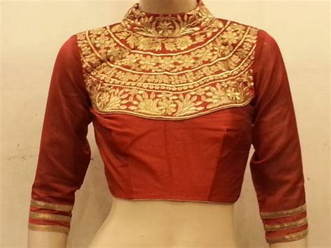boat neck readymade blouses online buy maroon dupion silk highneck zari embroidered blouse online