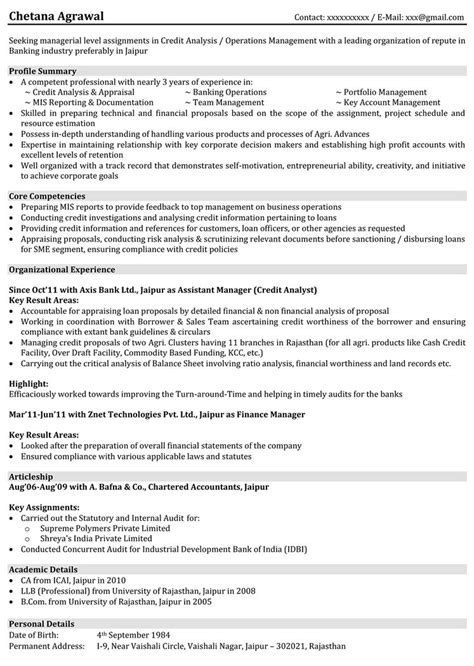 sle resume for freshers for banking job sle resume