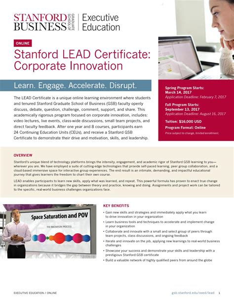 Mba Stanford Continuing Education by Stanford Lead Certificate Corporate Innovation By
