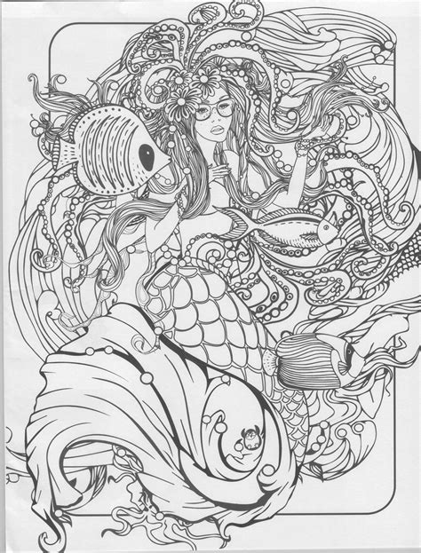 Mermaid Coloring Pages For Adults by Mermaid Coloring Page Mermaid Coloring Pages For Adults