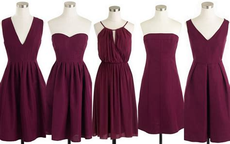 Minidress Maroon fall winter weddings cranberry burgundy bridesmaid