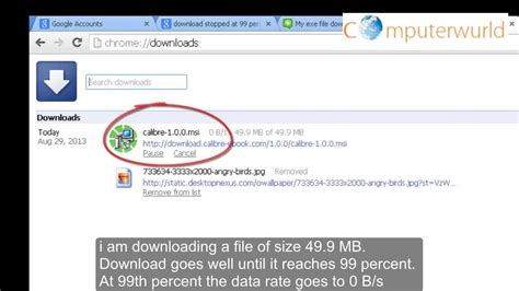 chrome quit unexpectedly download stopped at 99 percent 49 9 mb of 49 9 mb with