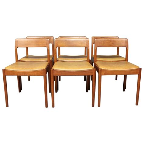 teak dining room furniture set of six dining room chairs in teak by n o m 248 ller