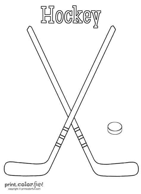 coloring pages of a hockey stick hockey sticks and puck coloring page print color fun