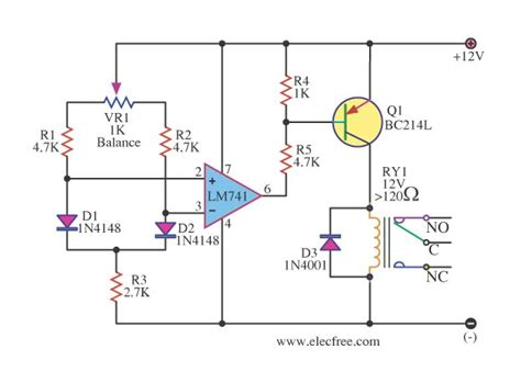 relay diode protection 1n4148 dfferential temperature relay switch by ic 741 jpg 625 215 461 electronic schematics